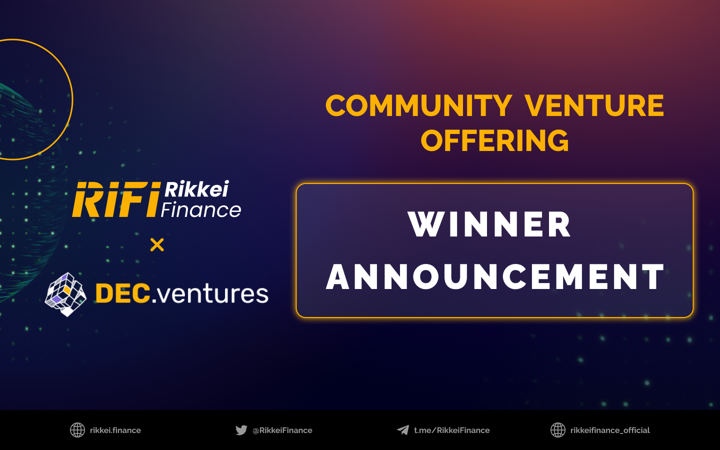 The Community Venture Offering's Winners are Finally Announced
